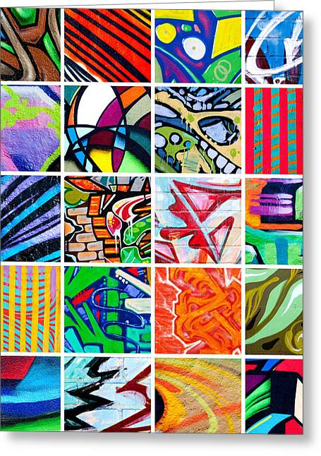 Street Art Patchwork Greeting Card by Art Block Collections