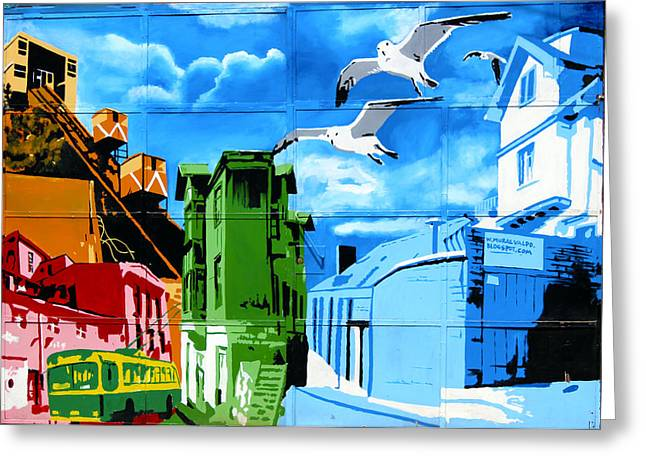 Street Art Valparaiso Chile 15 Greeting Card by Kurt Van Wagner