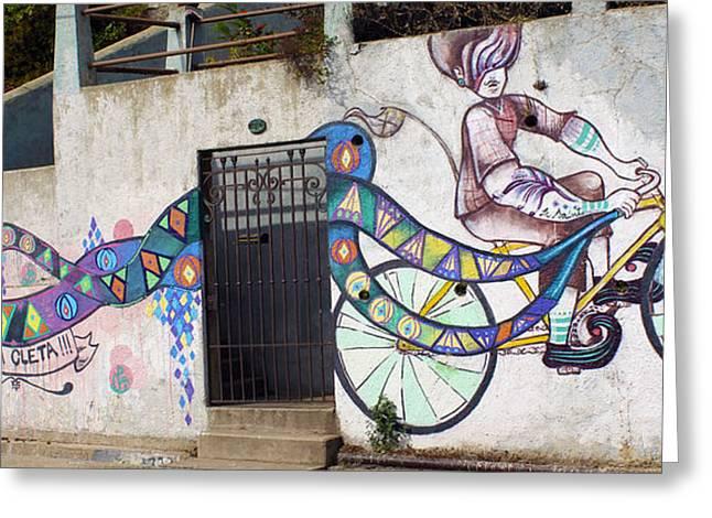 Street Art Valparaiso Chile Greeting Card by Kurt Van Wagner
