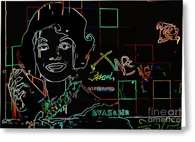 Street Art With Neon Effect 1 Greeting Card by David Smith