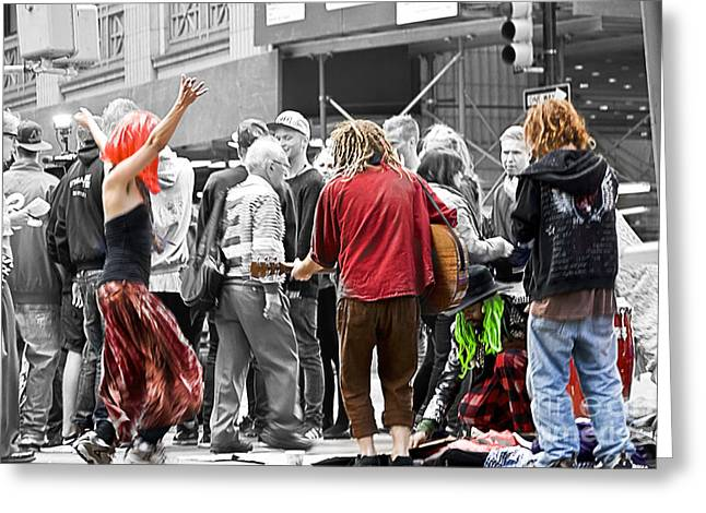 Street Band Greeting Card by Ted Guhl