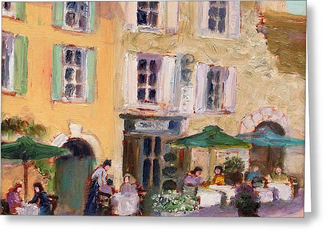 Street Cafe Greeting Card by J Reifsnyder