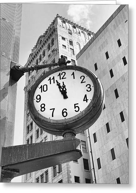 Street Clock Greeting Card by Rudy Umans