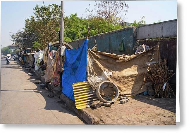 Street Dwellings In Mumbai Greeting Card by Mark Williamson