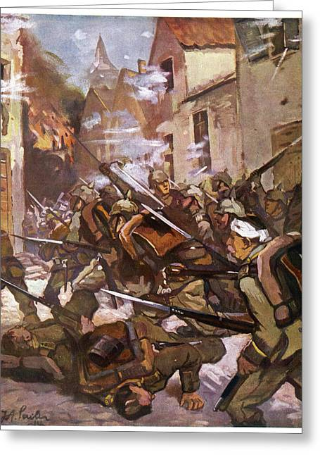 Street Fighting In A French  Village Greeting Card by Mary Evans Picture Library