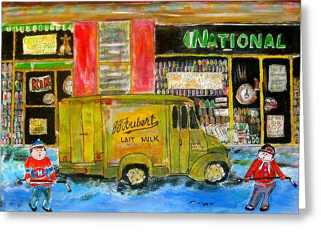 Street Hockey And Milkman Greeting Card by Michael Litvack