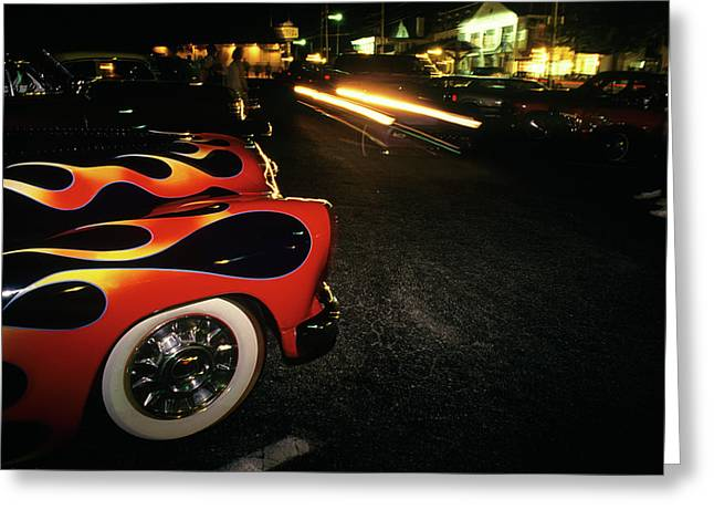 Street Hot Rods Flames Whitewall Tires Greeting Card