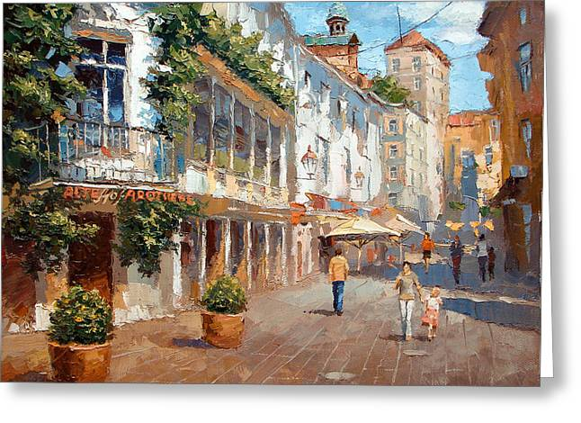 Greeting Card featuring the painting Street In Baden Baden by Dmitry Spiros