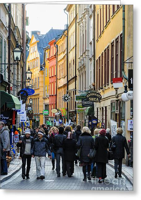 Street In Gamla Stan - The Old Part Of Stockholm - Sweden Greeting Card by David Hill