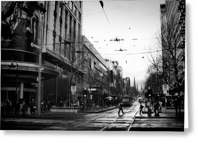 Street In Melbourne  Greeting Card by Sanjeewa Marasinghe