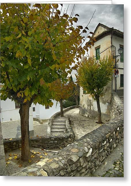 street in old Albaycin in Granada Greeting Card by Guido Montanes Castillo