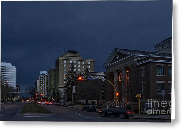 Night Street In Regina Greeting Card