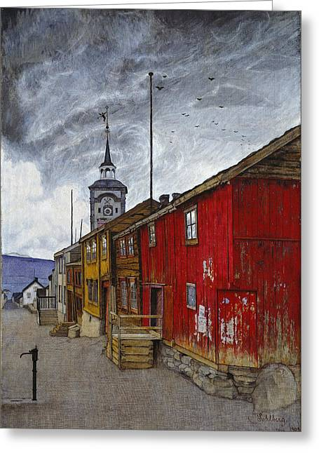 Street In Roros Greeting Card by Harald Sohlberg