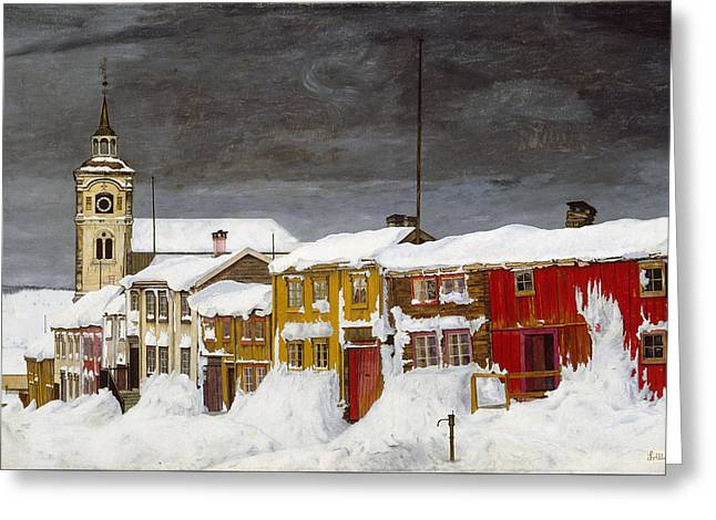 Street In Roros In Winter Greeting Card by Harald Sohlberg