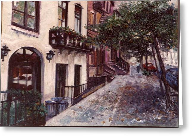 Greeting Card featuring the painting street in the Village NYC by Walter Casaravilla