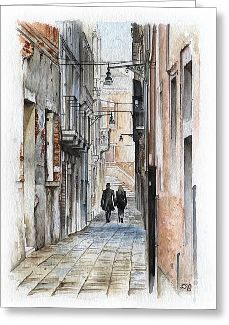 Street In Venice - Watercolor - Yakubovich Greeting Card