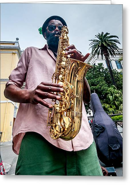 Street Jazz On Display Greeting Card