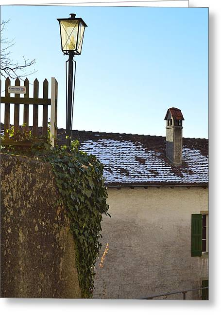 Greeting Card featuring the photograph Street Lamp At The Castle  by Felicia Tica