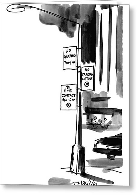 Street Lamp In City Has Three Signs On It:  No Greeting Card by Donald Reilly