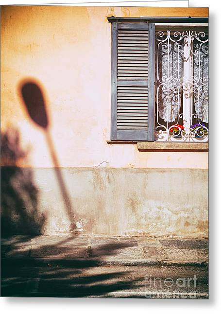 Greeting Card featuring the photograph Street Lamp Shadow And Window by Silvia Ganora
