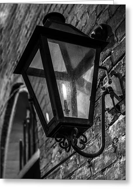 Street Light In Black And White Greeting Card by John McGraw
