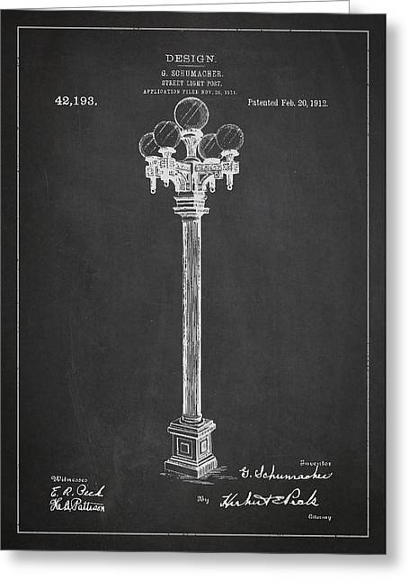 Street Light Post Patent Drawing From 1904 Greeting Card