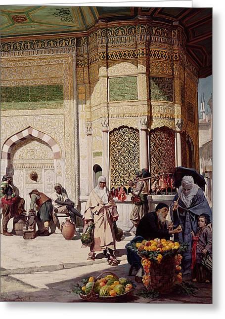 Street Merchant In Istanbul Greeting Card by Hippolyte Berteaux
