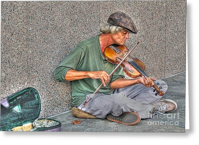 Street Music Greeting Card by Kathy Baccari