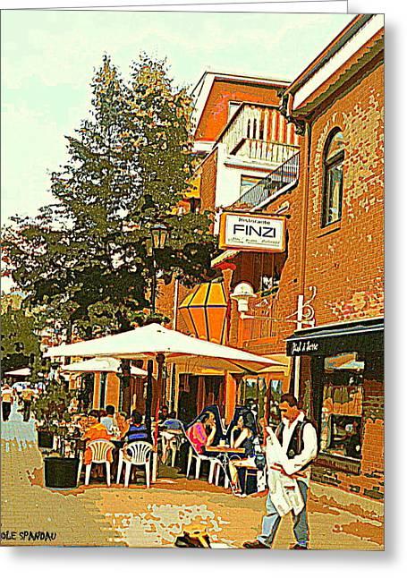 Street Musician Serenades The Terrace Umbrella Crowd At Ristorante Finzi Italienne Cafe Scene Greeting Card by Carole Spandau