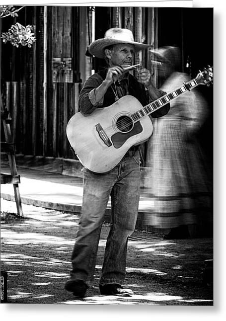 Street Musician Greeting Card by Thomas Hall