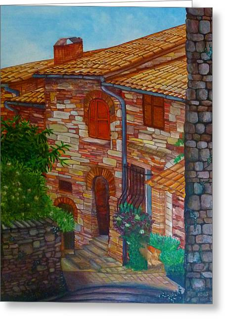 Street Of Assisi Greeting Card by Beata Dagiel