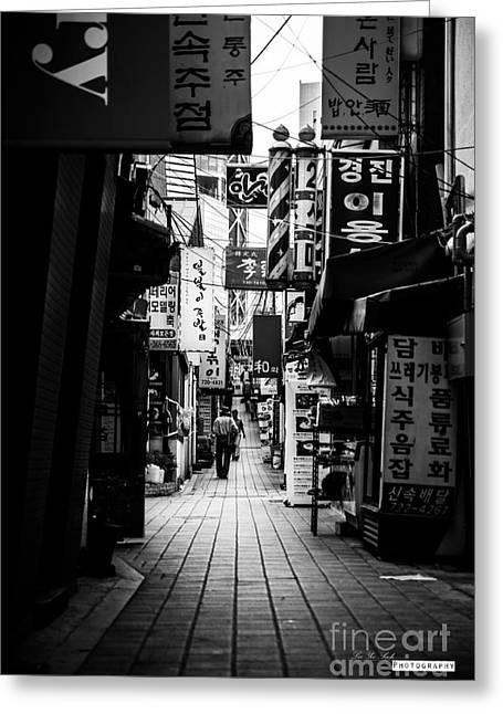 Street Of Signboard Greeting Card by Yoo Seok Lee
