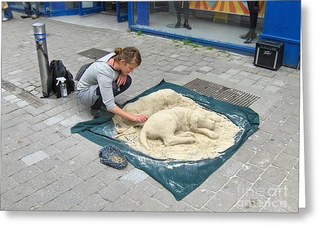 Street Sand Art In Ireland Greeting Card by Brenda Brown