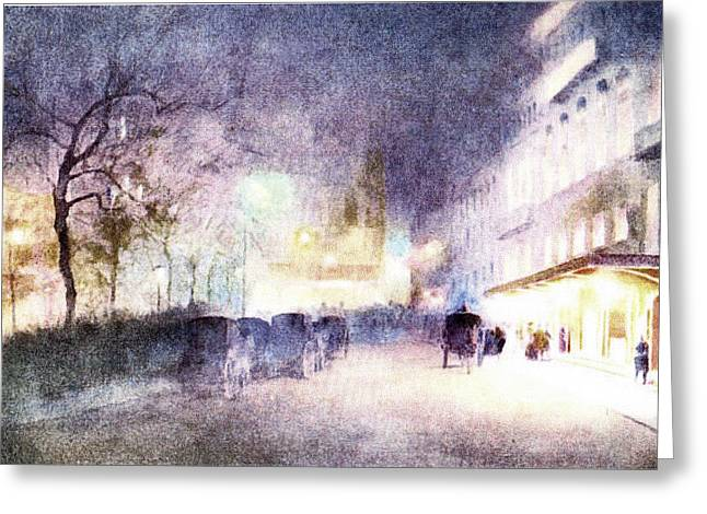 Street Scene At Dusk Greeting Card by Pat Mchale