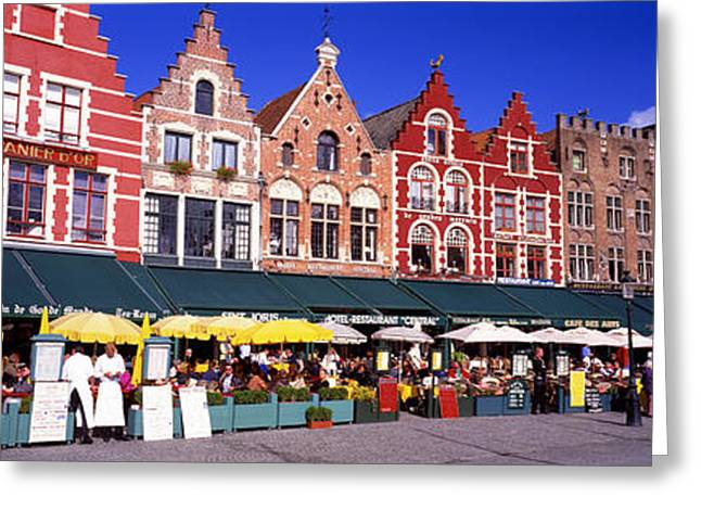 Street Scene Brugge Belgium Greeting Card by Panoramic Images