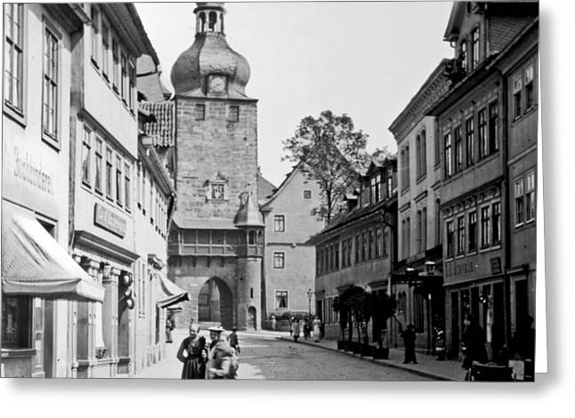 Greeting Card featuring the photograph Street Scene Coberg Germany 1903 by A Gurmankin