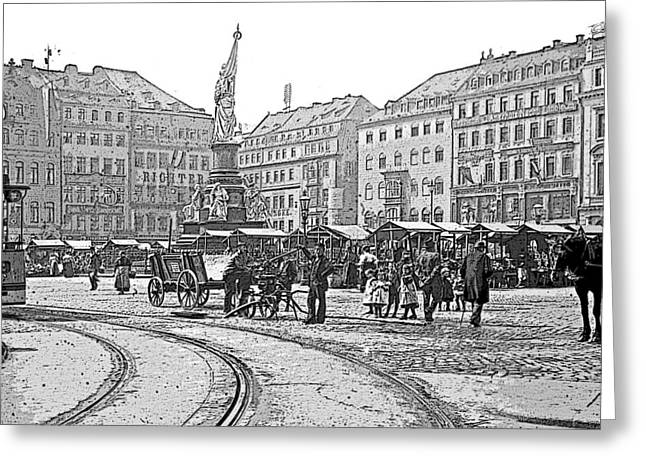 Greeting Card featuring the photograph Street Scene Dresden Germany C1900 Vintage Poster Image by A Gurmankin