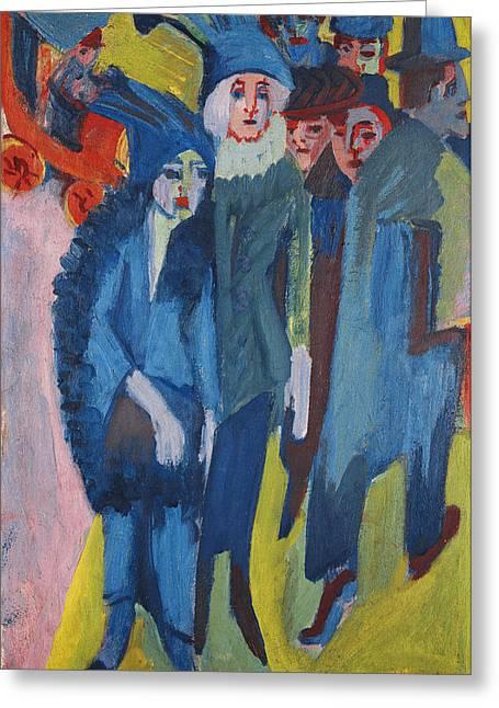 Street Scene Greeting Card by Ernst Ludwig Kirchner