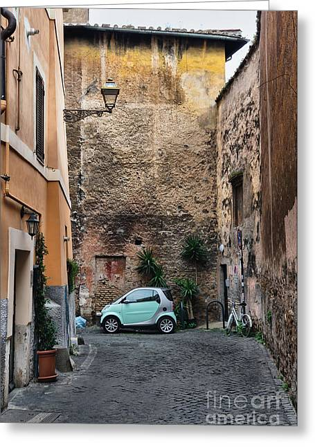 Street Scene From Trastevere District Of Rome Greeting Card by Frank Bach