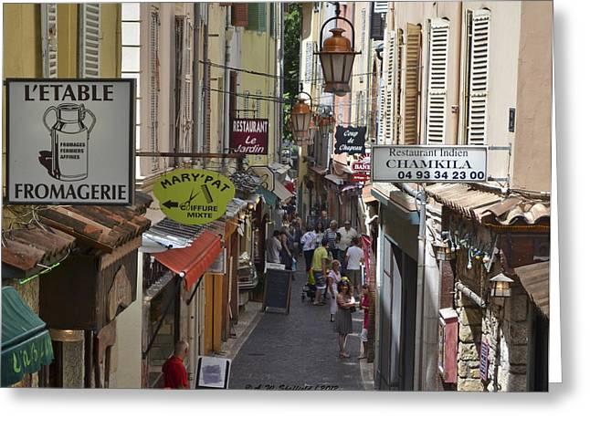 Street Scene In Antibes Greeting Card by Allen Sheffield