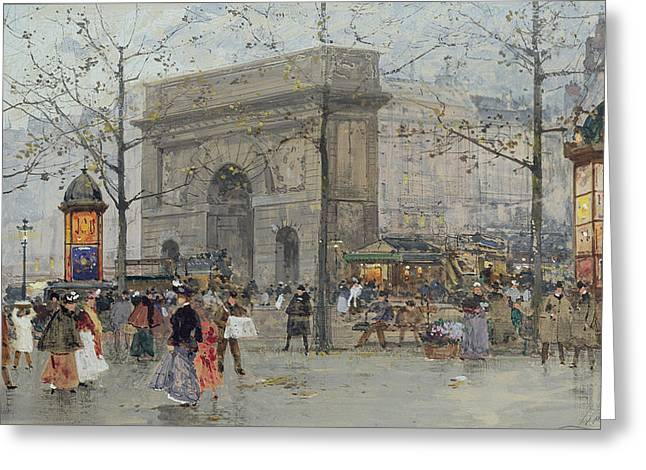 Street Scene In Paris Greeting Card by Eugene Galien-Laloue