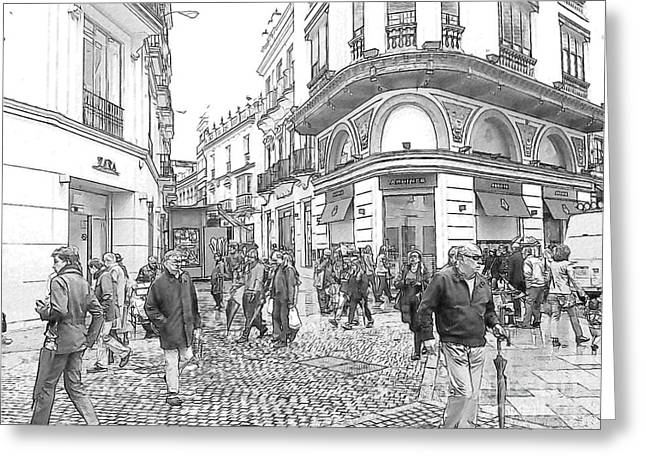 Street Scene In Seville Greeting Card by Heiko Koehrer-Wagner