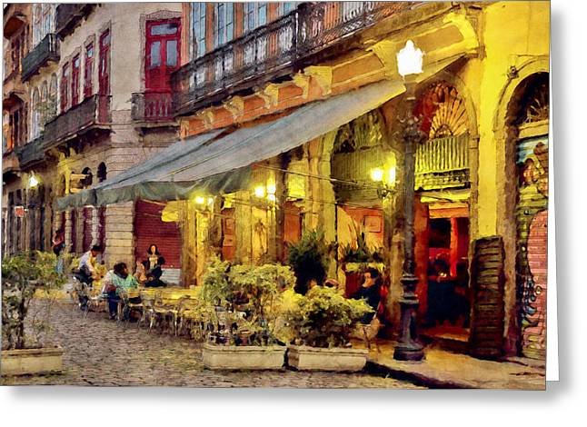 Street Scene In Yellow Greeting Card by Celso Bressan