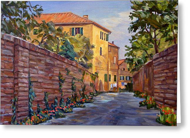 Street Scene Sienna Tuscany Greeting Card by Robert Gerdes