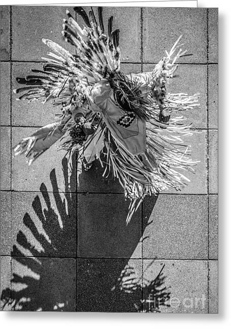 Street Shadow Dancer - Black And White Greeting Card by Ian Monk