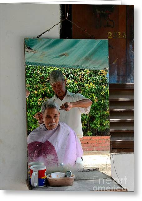 Street Side Barber Cuts Client Hair Singapore Greeting Card
