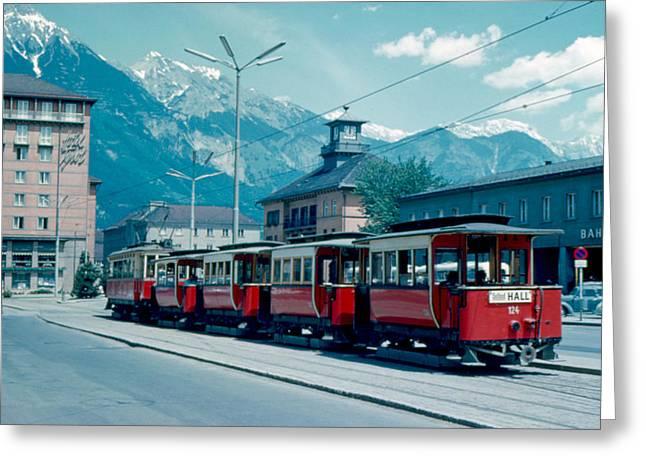 Street Train Innsbruck 1962 Greeting Card by Cumberland Warden
