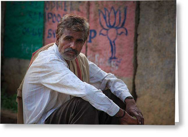 Street Vendor - India Greeting Card by Matthew Onheiber