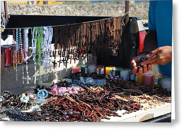Street Vendor Selling Rosaries Greeting Card