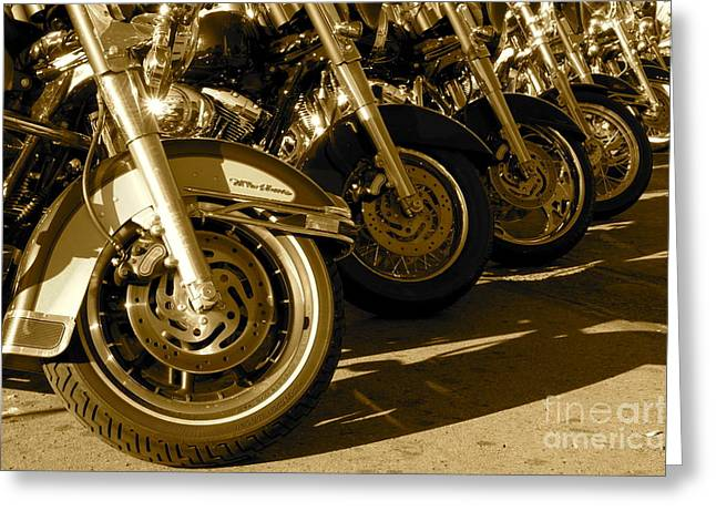 Street Vibrations Sepia Greeting Card by Vinnie Oakes